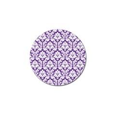 White On Purple Damask Golf Ball Marker by Zandiepants