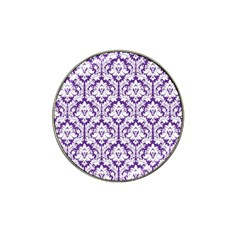 White On Purple Damask Golf Ball Marker 4 Pack (for Hat Clip) by Zandiepants