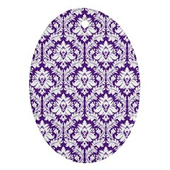 White on Purple Damask Oval Ornament (Two Sides) by Zandiepants