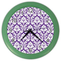 White On Purple Damask Wall Clock (color) by Zandiepants