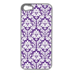White on Purple Damask Apple iPhone 5 Case (Silver) by Zandiepants