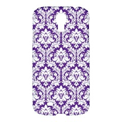 White On Purple Damask Samsung Galaxy S4 I9500/i9505 Hardshell Case by Zandiepants