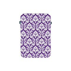 White On Purple Damask Apple Ipad Mini Protective Sleeve by Zandiepants