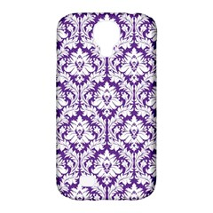 White on Purple Damask Samsung Galaxy S4 Classic Hardshell Case (PC+Silicone) by Zandiepants