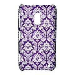 White On Purple Damask Nokia Lumia 620 Hardshell Case by Zandiepants