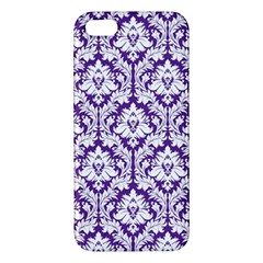 White On Purple Damask Iphone 5s Premium Hardshell Case by Zandiepants