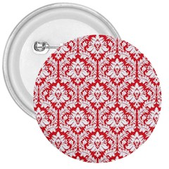 White On Red Damask 3  Button by Zandiepants