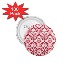 White On Red Damask 1 75  Button (100 Pack) by Zandiepants