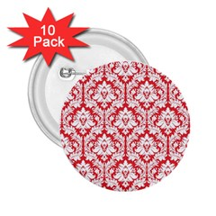 White On Red Damask 2 25  Button (10 Pack) by Zandiepants