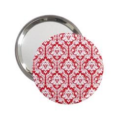 White On Red Damask Handbag Mirror (2 25 ) by Zandiepants