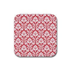 White On Red Damask Drink Coasters 4 Pack (Square) by Zandiepants
