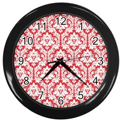 White On Red Damask Wall Clock (black) by Zandiepants