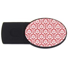 White On Red Damask 2gb Usb Flash Drive (oval) by Zandiepants