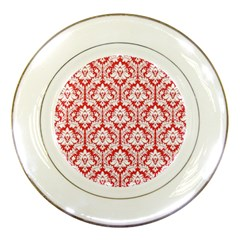 White On Red Damask Porcelain Display Plate by Zandiepants