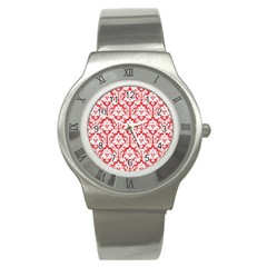 White On Red Damask Stainless Steel Watch (slim) by Zandiepants