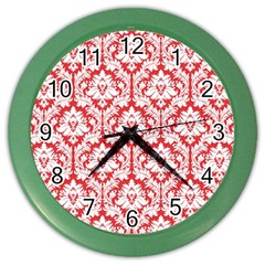 White On Red Damask Wall Clock (color) by Zandiepants