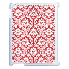 White On Red Damask Apple iPad 2 Case (White) by Zandiepants