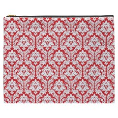 Poppy Red Damask Pattern Cosmetic Bag (XXXL) by Zandiepants