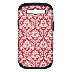 White On Red Damask Samsung Galaxy S Iii Hardshell Case (pc+silicone) by Zandiepants