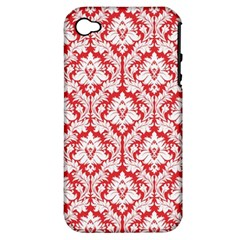 White On Red Damask Apple Iphone 4/4s Hardshell Case (pc+silicone) by Zandiepants