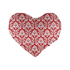 Poppy Red Damask Pattern Standard 16  Premium Heart Shape Cushion
