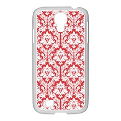 White On Red Damask Samsung GALAXY S4 I9500/ I9505 Case (White) by Zandiepants