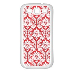 White On Red Damask Samsung Galaxy S3 Back Case (white) by Zandiepants