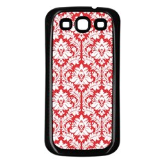White On Red Damask Samsung Galaxy S3 Back Case (black) by Zandiepants