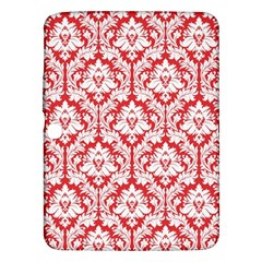 White On Red Damask Samsung Galaxy Tab 3 (10 1 ) P5200 Hardshell Case  by Zandiepants