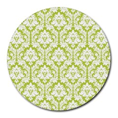 White On Spring Green Damask 8  Mouse Pad (round) by Zandiepants