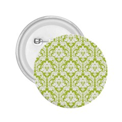 White On Spring Green Damask 2 25  Button by Zandiepants