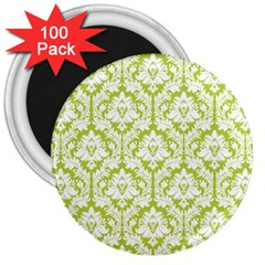 White On Spring Green Damask 3  Button Magnet (100 Pack) by Zandiepants