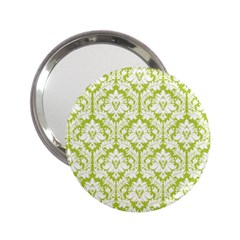 White On Spring Green Damask Handbag Mirror (2.25 ) by Zandiepants