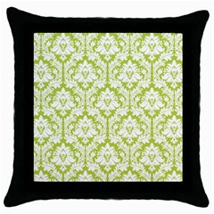 White On Spring Green Damask Black Throw Pillow Case by Zandiepants