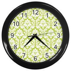 White On Spring Green Damask Wall Clock (black) by Zandiepants