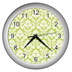 White On Spring Green Damask Wall Clock (silver) by Zandiepants
