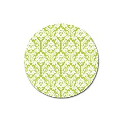 White On Spring Green Damask Magnet 3  (Round) by Zandiepants