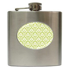 White On Spring Green Damask Hip Flask by Zandiepants