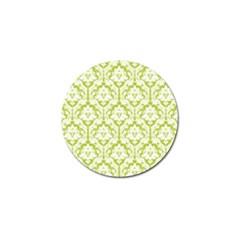 White On Spring Green Damask Golf Ball Marker by Zandiepants