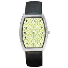 White On Spring Green Damask Tonneau Leather Watch by Zandiepants