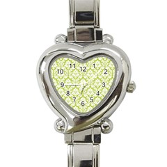White On Spring Green Damask Heart Italian Charm Watch  by Zandiepants