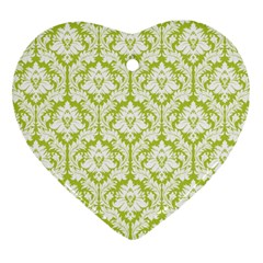 White On Spring Green Damask Heart Ornament (Two Sides) by Zandiepants