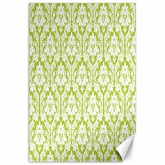 White On Spring Green Damask Canvas 24  X 36  (unframed) by Zandiepants