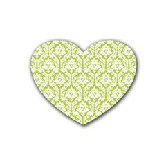 White On Spring Green Damask Drink Coasters 4 Pack (Heart)  by Zandiepants