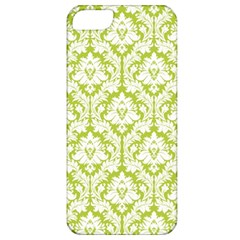 White On Spring Green Damask Apple iPhone 5 Classic Hardshell Case by Zandiepants