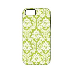 White On Spring Green Damask Apple iPhone 5 Classic Hardshell Case (PC+Silicone) by Zandiepants