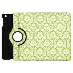 White On Spring Green Damask Apple Ipad Mini Flip 360 Case by Zandiepants