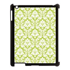 White On Spring Green Damask Apple Ipad 3/4 Case (black) by Zandiepants