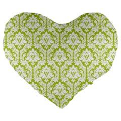 Spring Green Damask Pattern Large 19  Premium Heart Shape Cushion by Zandiepants