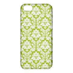 White On Spring Green Damask Apple Iphone 5c Hardshell Case by Zandiepants